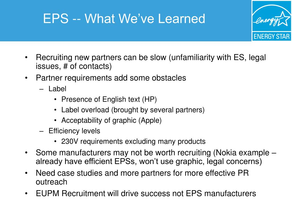 EPS -- What We've Learned