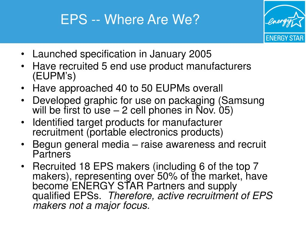 EPS -- Where Are We?