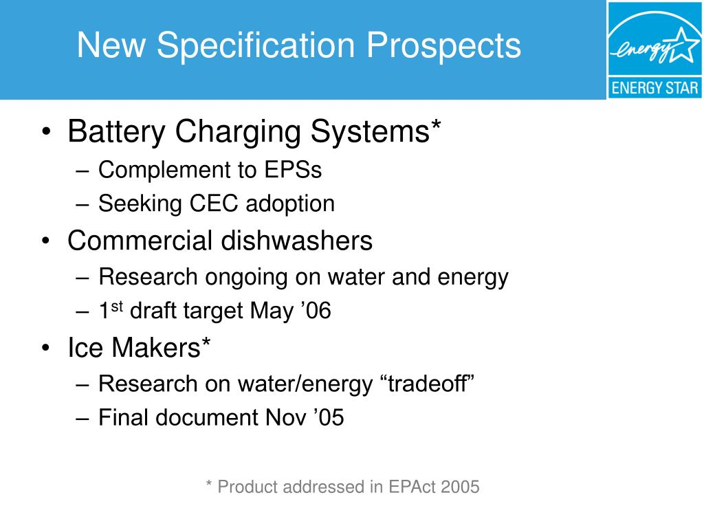 New Specification Prospects