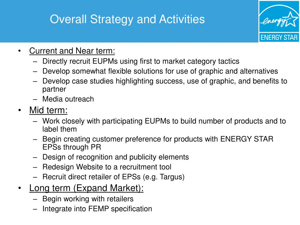 Overall Strategy and Activities