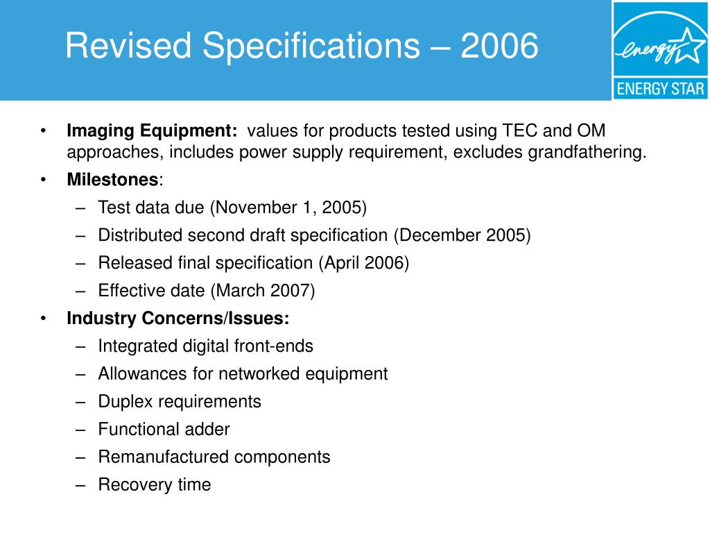 Revised Specifications – 2006