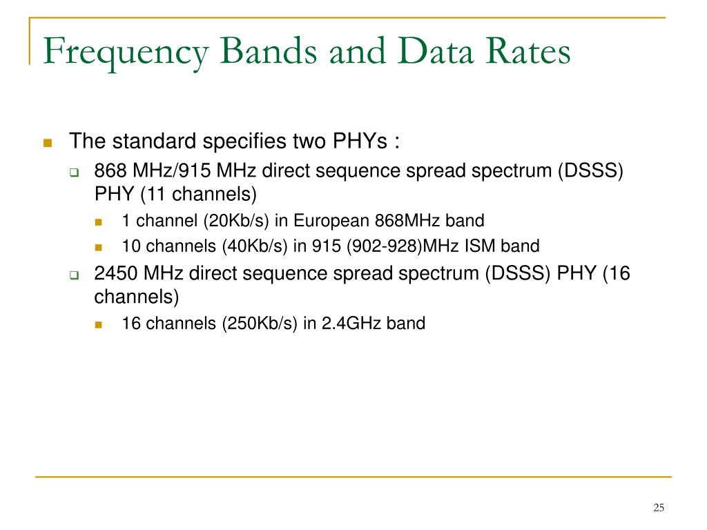 Frequency Bands and Data Rates