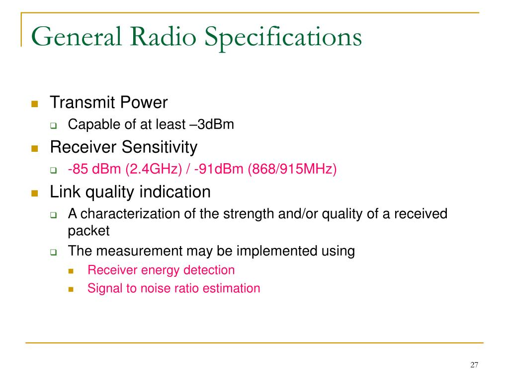 General Radio Specifications