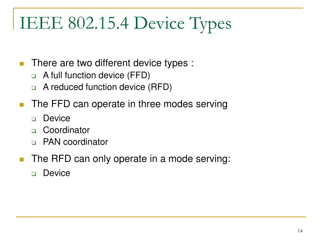IEEE 802.15.4 Device Types