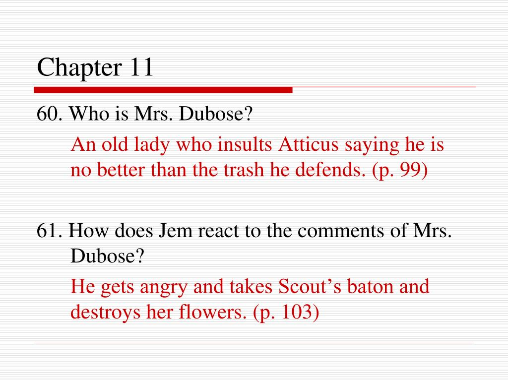 mrs dubose misjudge scout Tkam guided reading notes – chs 9-12 character details/actions characterization francis 1 2 how does mrs dubose reinforce scout's anti-girl.