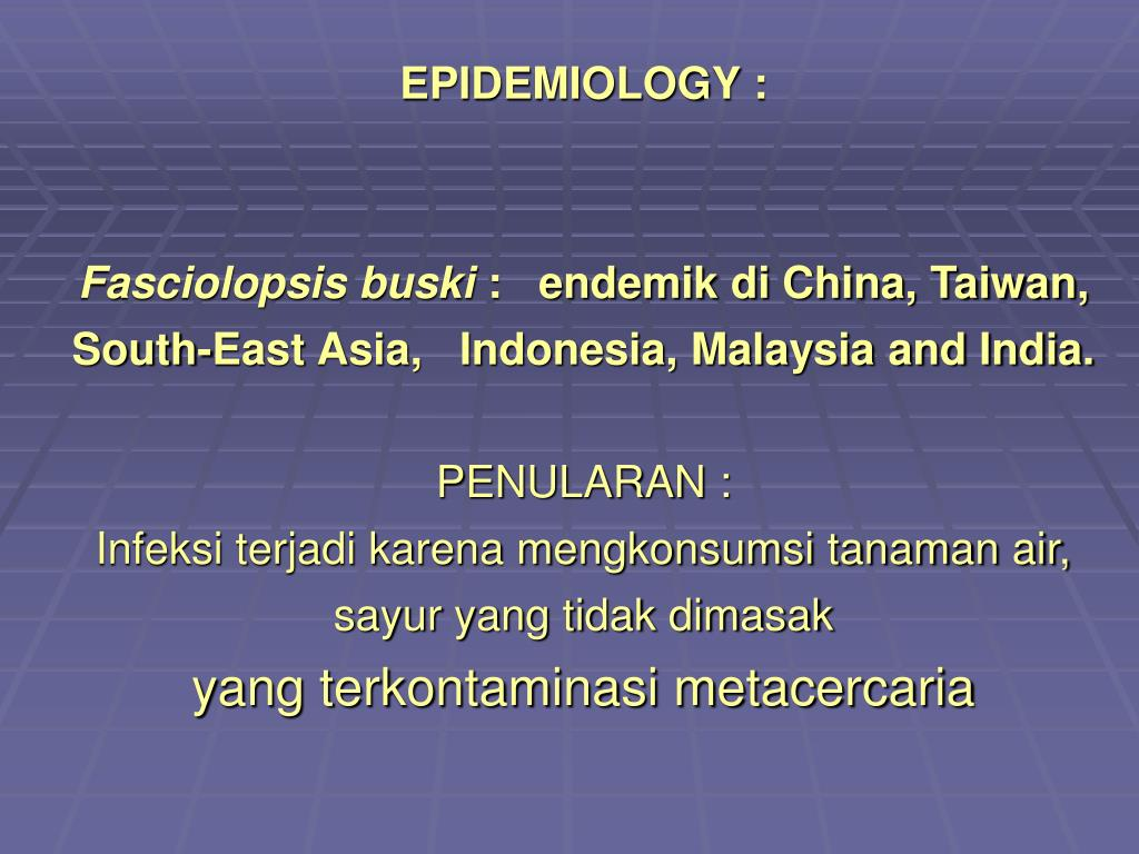EPIDEMIOLOGY :