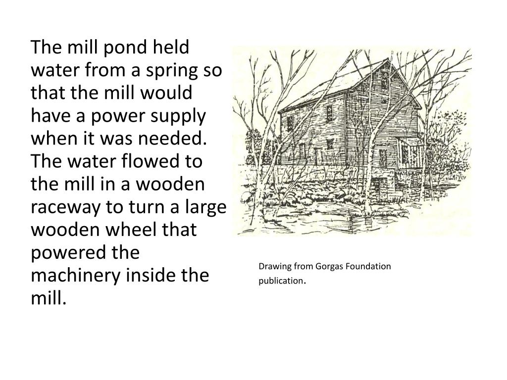 The mill pond held water from a spring so