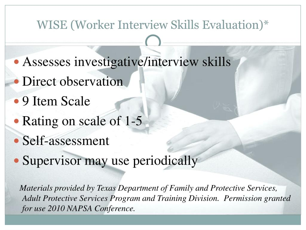 WISE (Worker Interview Skills Evaluation)*