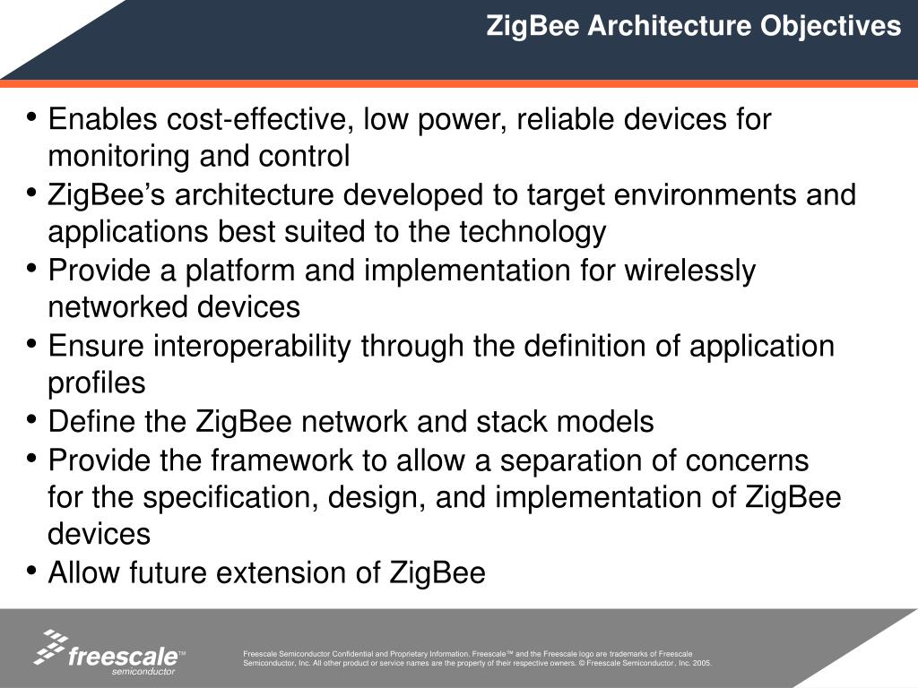 ZigBee Architecture Objectives