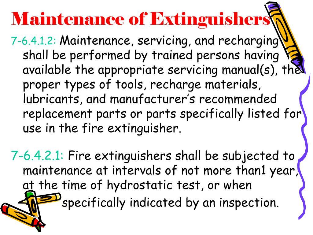 Maintenance of Extinguishers