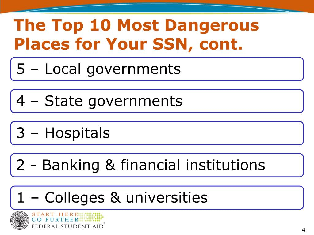 The Top 10 Most Dangerous Places for Your SSN, cont.