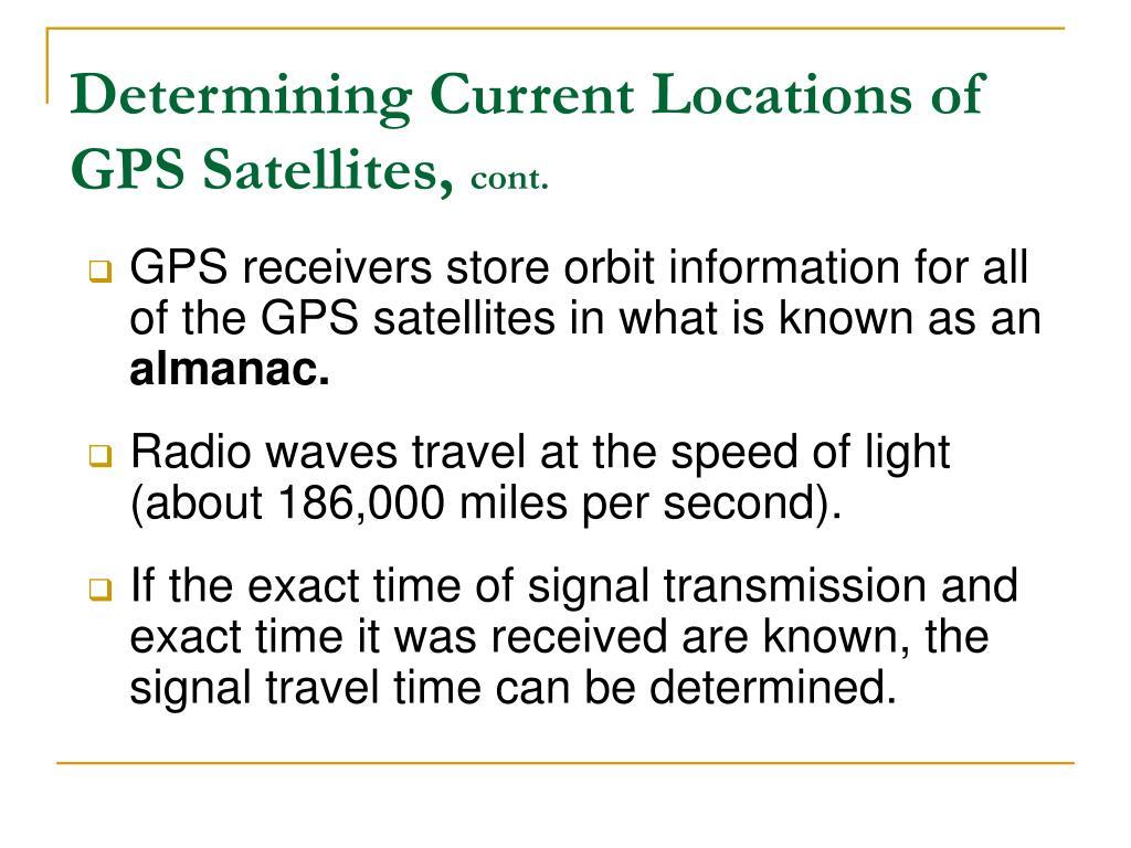 Determining Current Locations of GPS Satellites,
