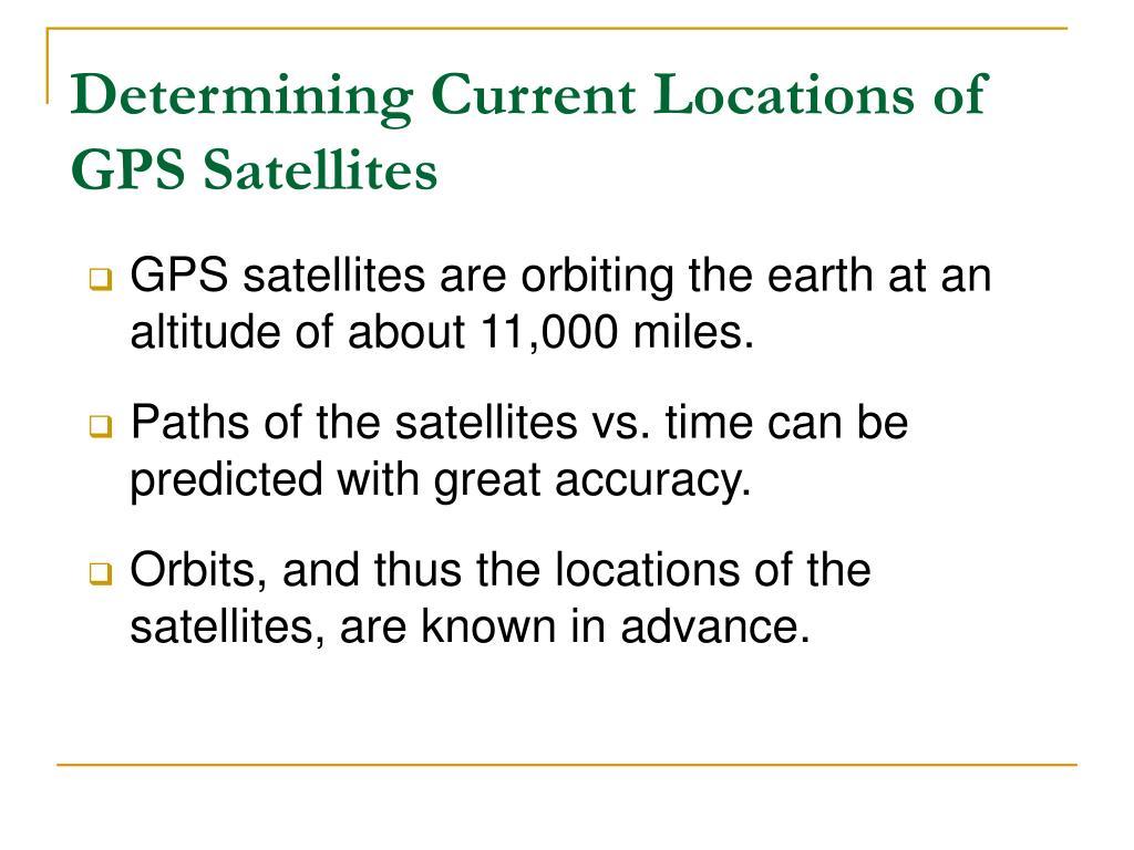 Determining Current Locations of GPS Satellites
