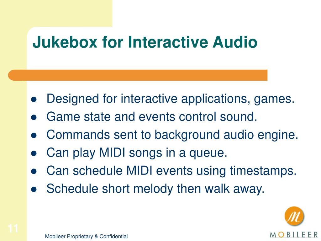 Jukebox for Interactive Audio