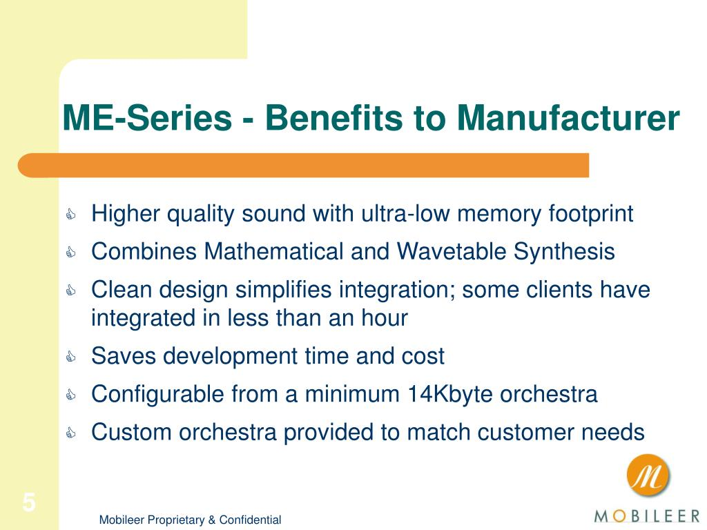 ME-Series - Benefits to Manufacturer