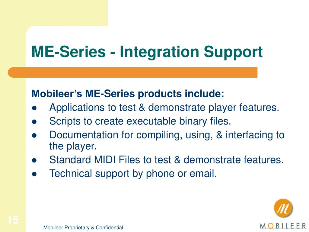ME-Series - Integration Support