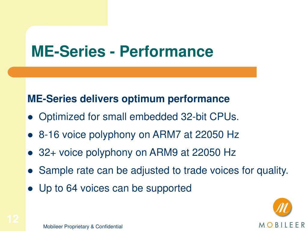 ME-Series - Performance