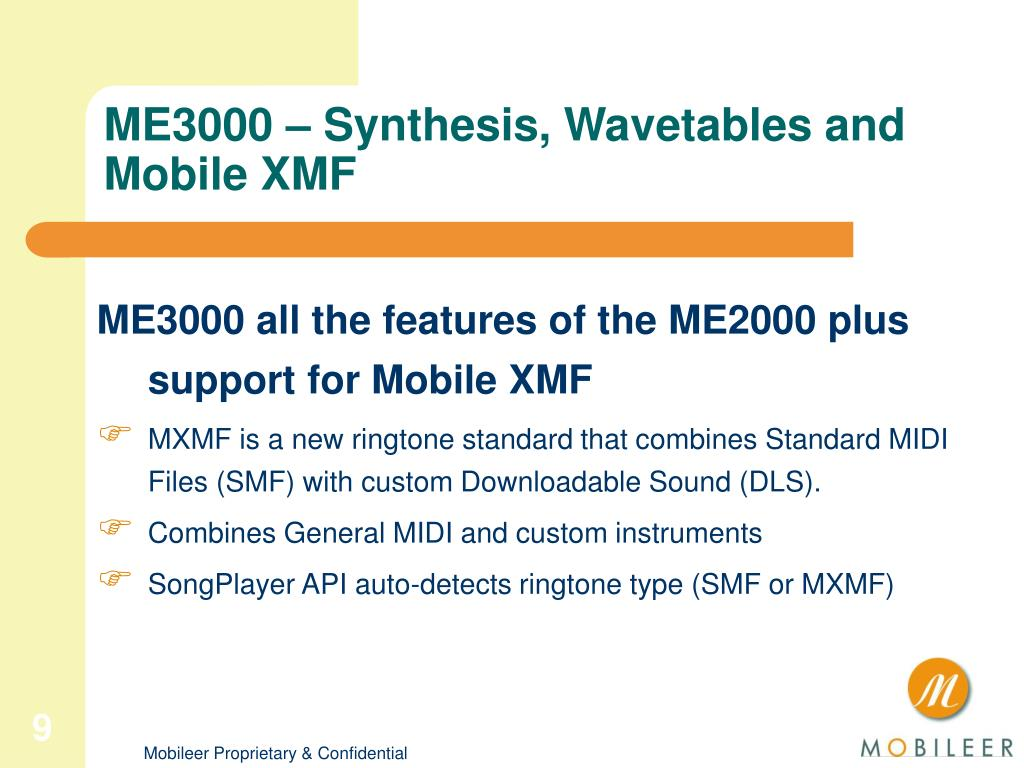 ME3000 – Synthesis, Wavetables and Mobile XMF
