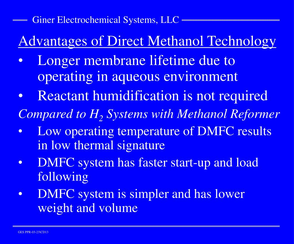 Advantages of Direct Methanol Technology
