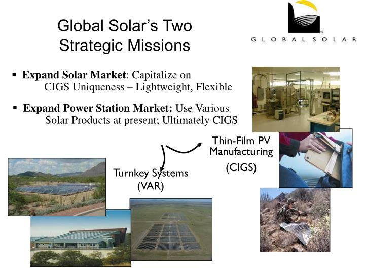 Global solar s two strategic missions