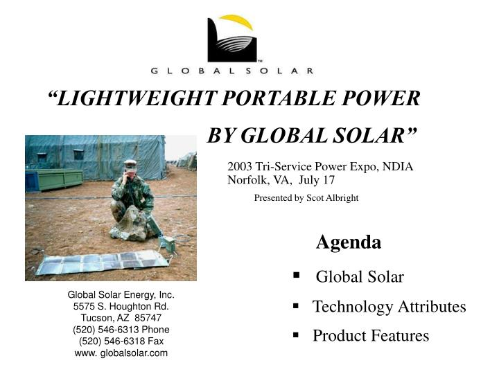 """LIGHTWEIGHT PORTABLE POWER"
