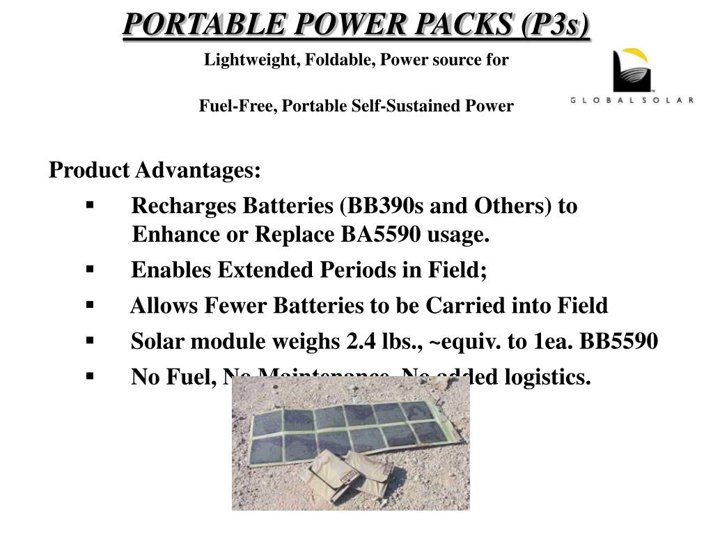 PORTABLE POWER PACKS (P3s)