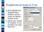 neighborhood analysis cont
