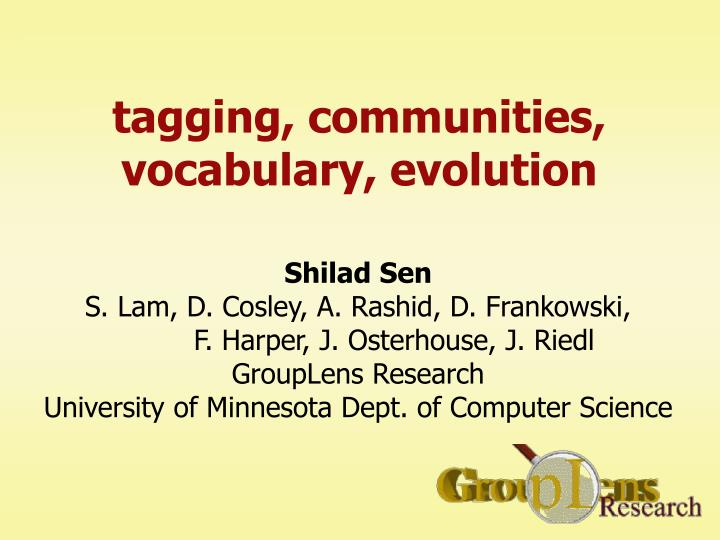 Tagging communities vocabulary evolution