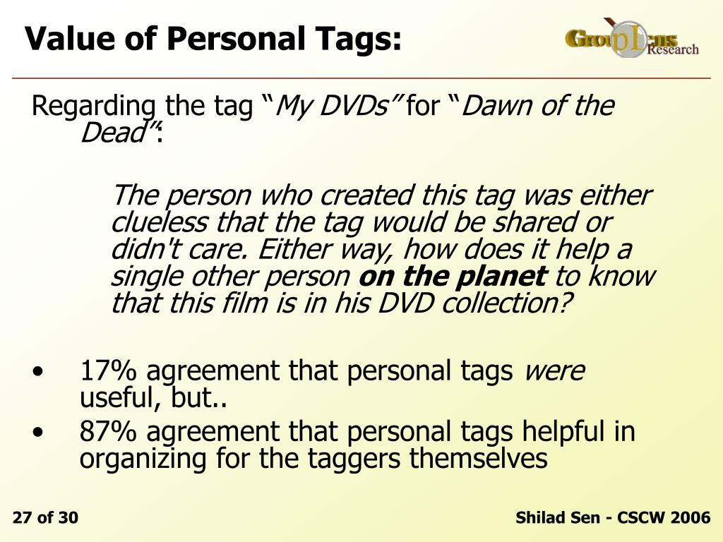 Value of Personal Tags: