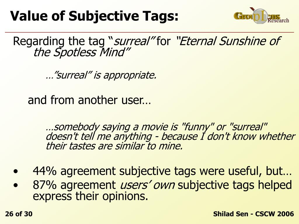 Value of Subjective Tags: