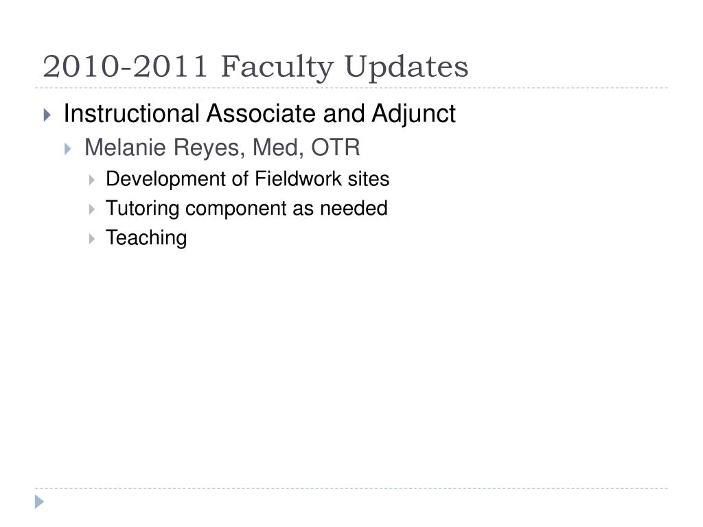 2010-2011 Faculty Updates