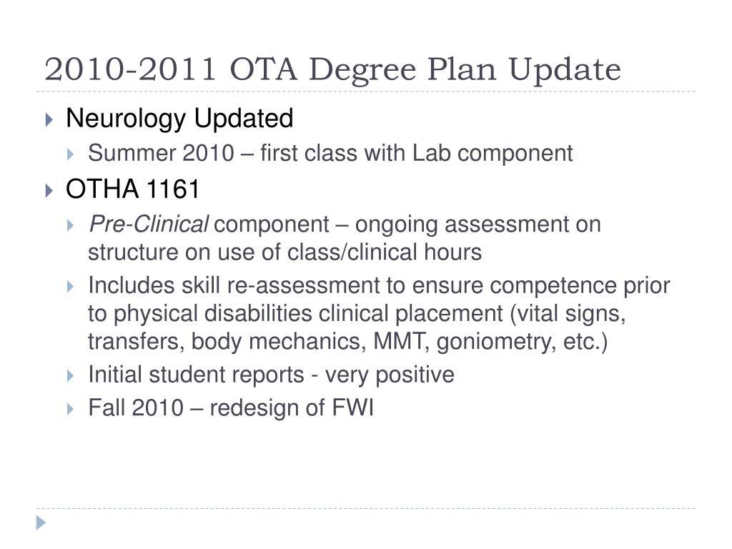 2010-2011 OTA Degree Plan Update