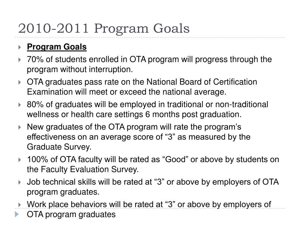 2010-2011 Program Goals