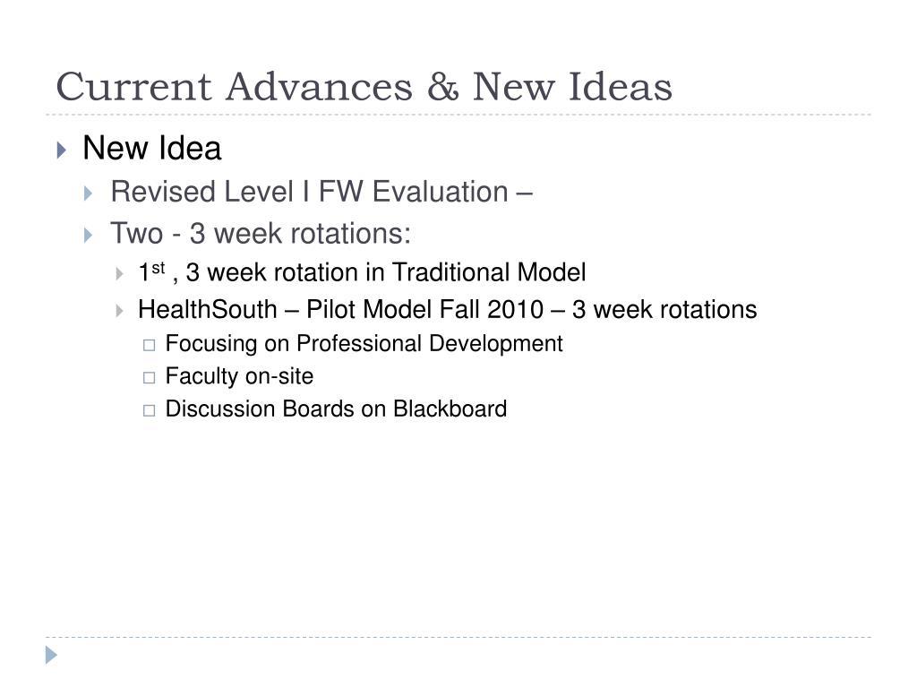 Current Advances & New Ideas