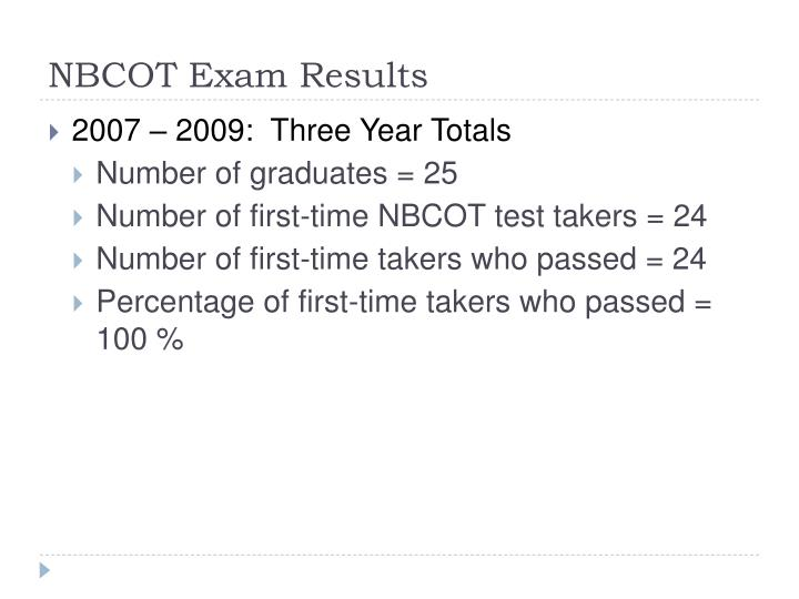 Nbcot exam results