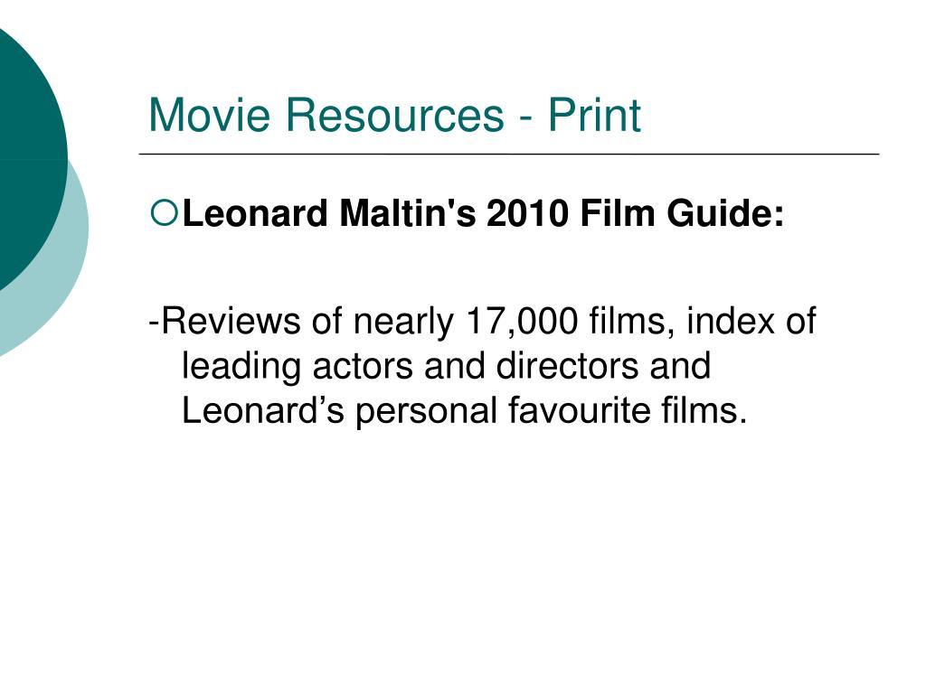 Movie Resources - Print