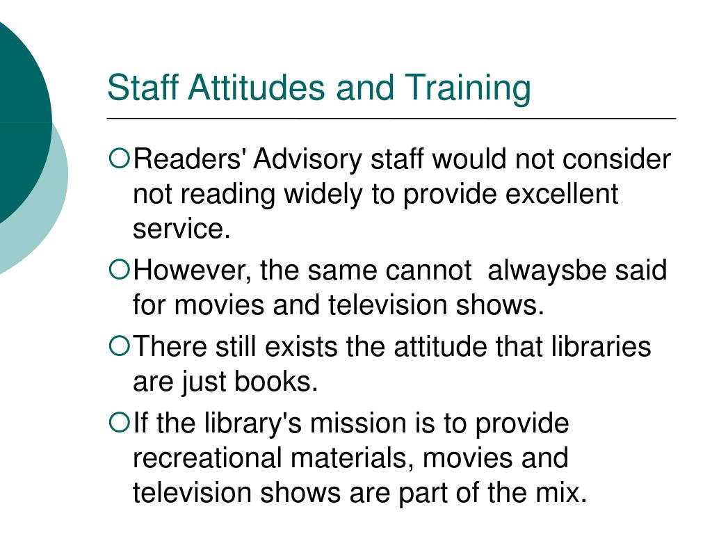 Staff Attitudes and Training