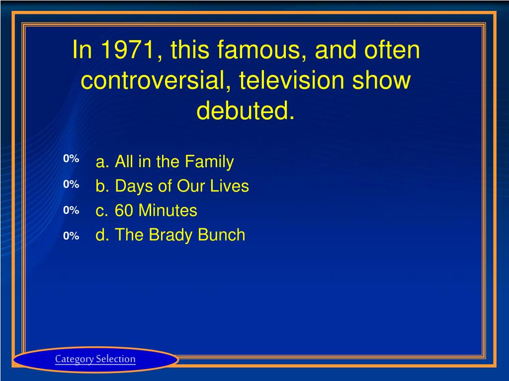 In 1971, this famous, and often controversial, television show debuted.