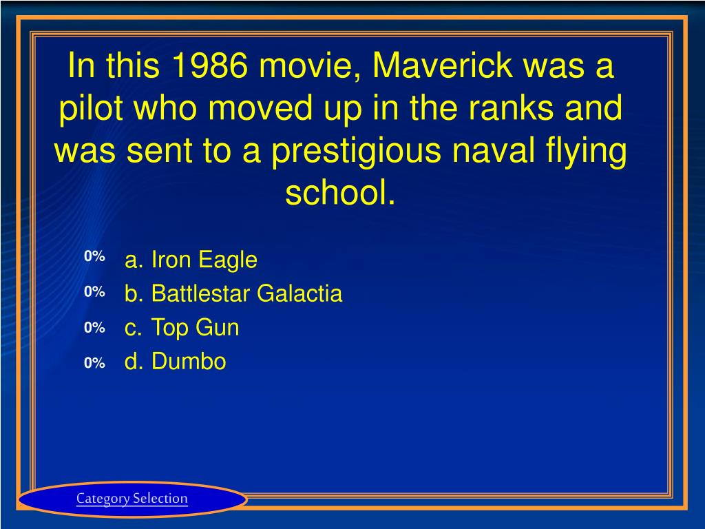 In this 1986 movie, Maverick was a pilot who moved up in the ranks and was sent to a prestigious naval flying school.