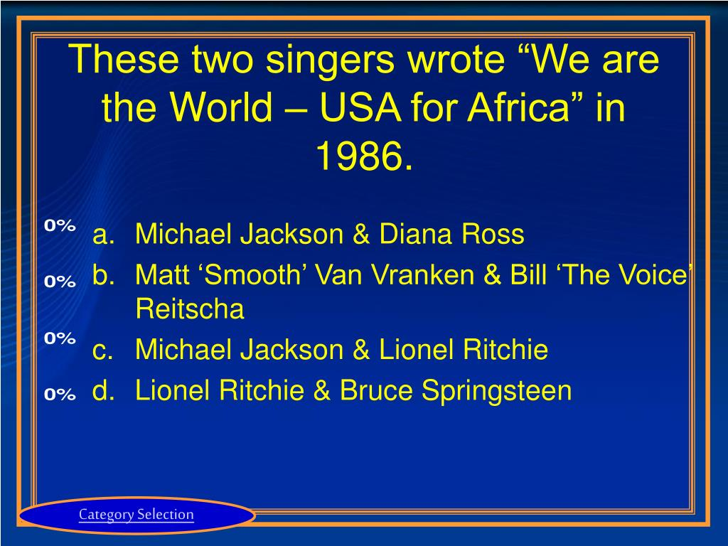 "These two singers wrote ""We are the World – USA for Africa"" in 1986."