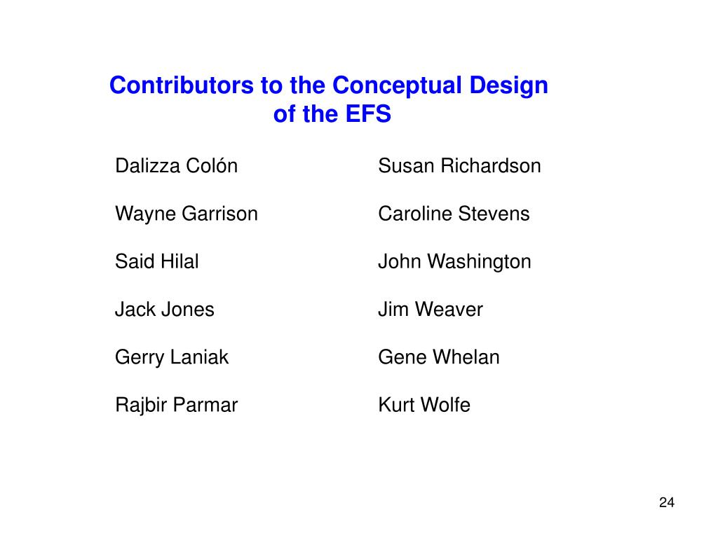 Contributors to the Conceptual Design