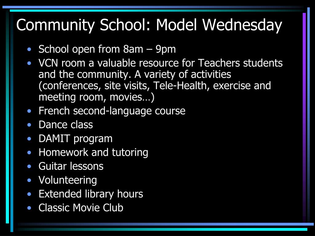 Community School: Model Wednesday
