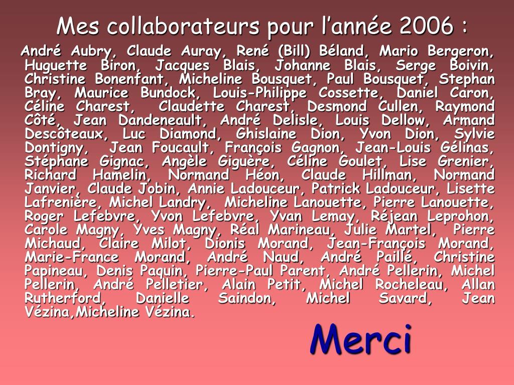 Mes collaborateurs pour l'année 2006: