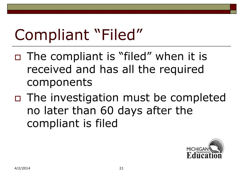 "Compliant ""Filed"""