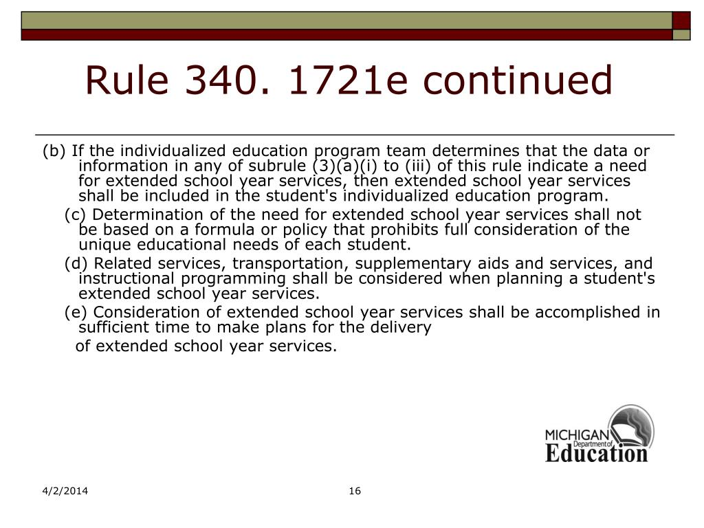Rule 340. 1721e continued