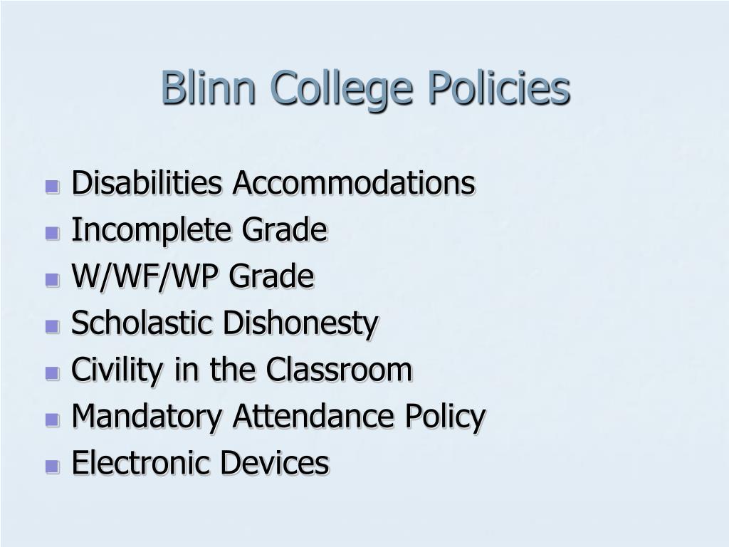 Blinn College Policies