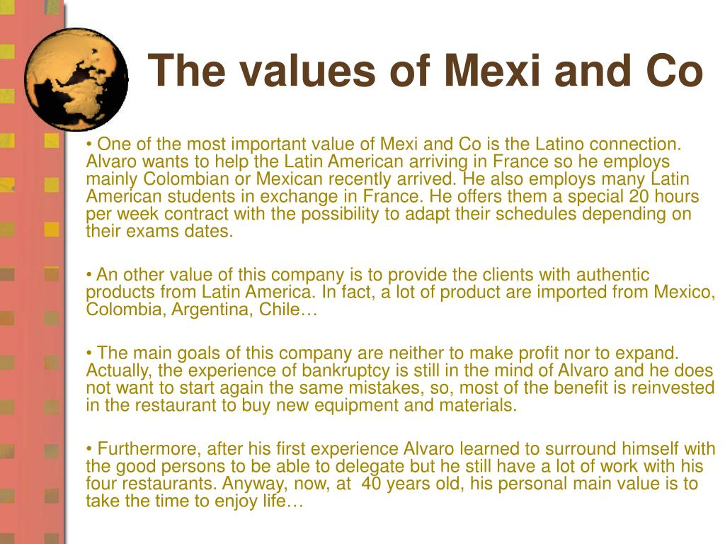 The values of Mexi and Co