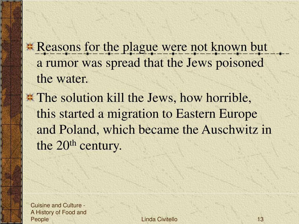 Reasons for the plague were not known but a rumor was spread that the Jews poisoned the water.