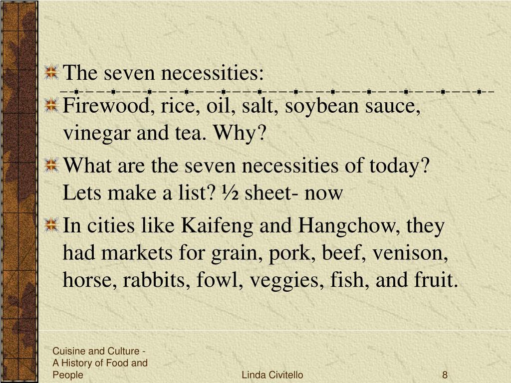The seven necessities: