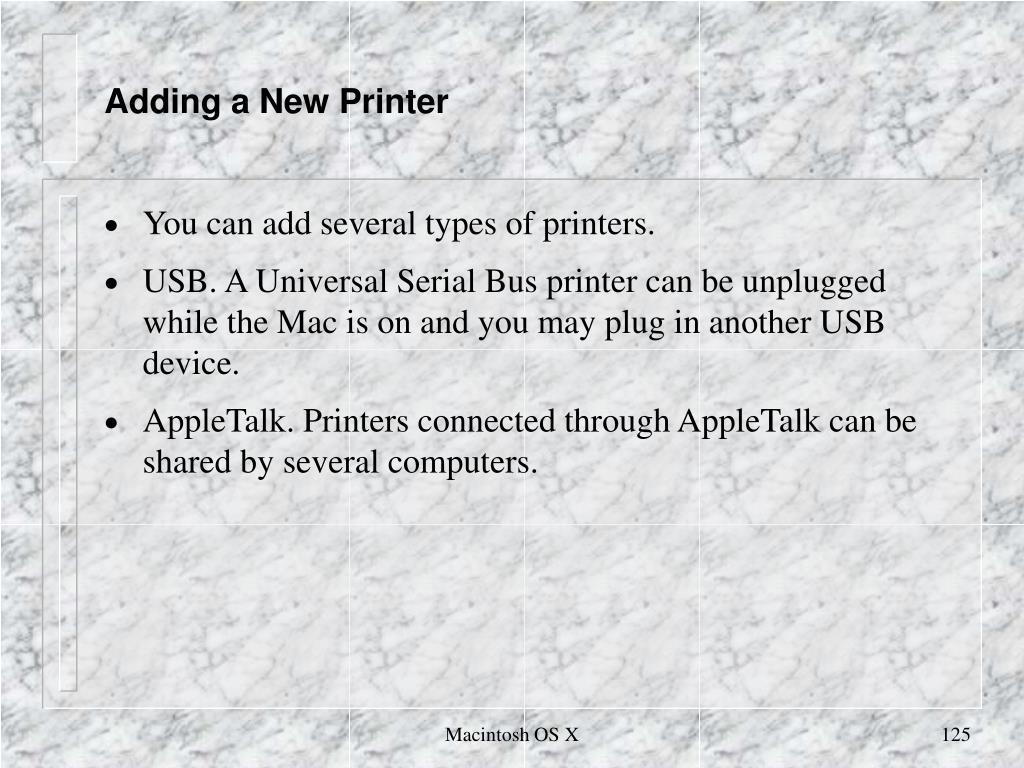 Adding a New Printer